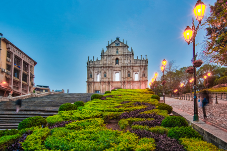 The Ruin of the Church Facade at night in Macao, China.