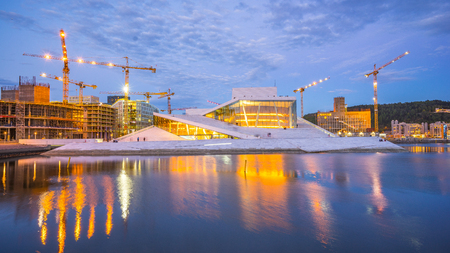Oslo, Norway - May 6, 2017: The Oslo Opera House in Oslo city at night in Norway.