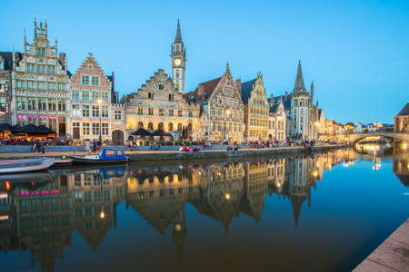 The Graslei in city center of Ghent, Belgium. Banque d'images