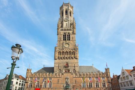 The Belfry of Bruges in Market Square in Belgium.