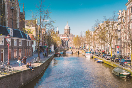 Amsterdam city in Netherlands with retro film vintage filter style. Banque d'images