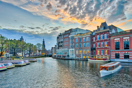 The Dutch buildings style in Amsterdam city, Netherlands.