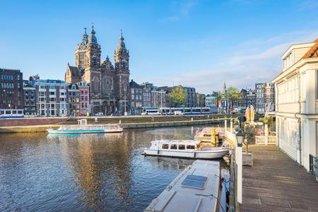 Amsterdam cityscape in Amsterdam city, Netherlands.