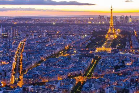 Paris, France - May 14, 2014: Paris cityscape with Eiffel Tower at night in Paris, France.