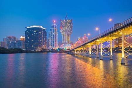 Nam Van Lake with the Macau cityscape at night