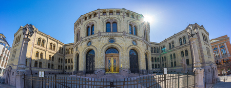 Panorama view of Parliament of Norway Stortinget in Oslo, Norway. Banque d'images