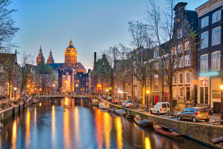 Cityscape of Amsterdam city in Netherlands. Banque d'images