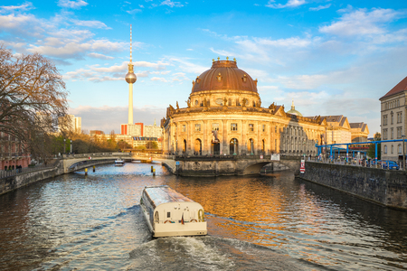 Museum Island by the Spree River at sunset in Berlin city, Germany.