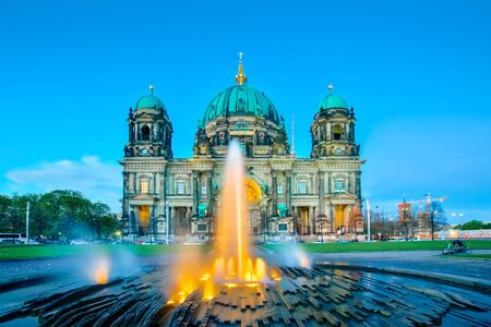 Night at Berlin Cathedral or Berliner Dom in Berlin city, Germany.