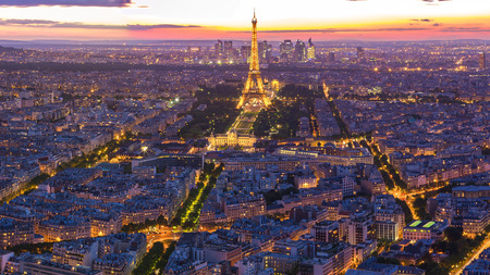 Paris, France - May 14, 2014: Cityscape with view of Eiffel Tower in Paris, France.