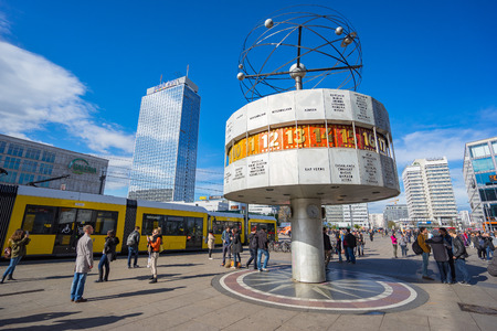 Berlin, Germany - April 16, 2016: Alexanderplatz Square with the World Clock in Berlin city, Germany. Éditoriale