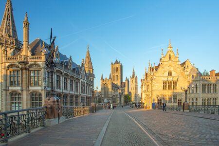 Ghent and Saint Nicholas church in Ghent city, Belgium.