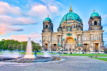 Blue nice sky with Berlin Cathedral or Berliner Dom in Berlin city, Germany. Banque d'images