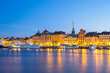 Night view of Old Town in Stockholm city, Sweden.