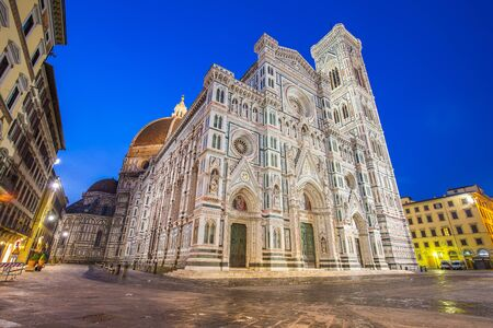 Night at the Duomo of Florence at night in Tuscany, Italy. Éditoriale