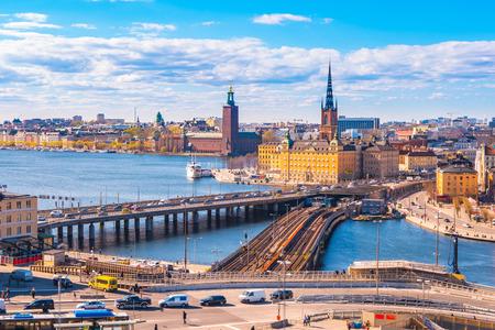 Ariel view of Stockholm city skyline in Sweden.