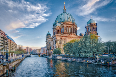 Dramatic sky with Berlin Cathedral in Berlin, Germany.