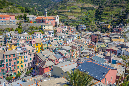 Ariel view of Vernazza one of Cinque Terre in Italy.