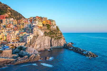 Manarola village one of Cinque Terre in La Spezia, Italy. Éditoriale