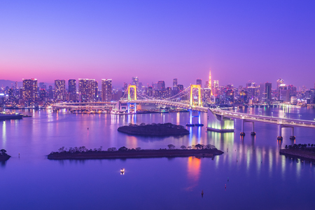 Tokyo skyline on Tokyo bay at Odaiba in Tokyo, Japan at night.