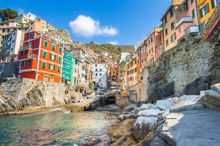 Riomaggiore village one of Cinque Terre in the province of La Spezia, Italy. Éditoriale