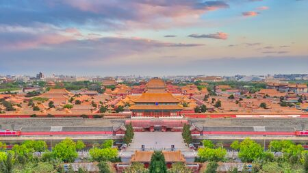 Ariel view of Beijing city skyline with the Forbidden city chinese palace in Beijing, China.