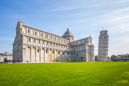The Pisa Cathedral and the Leaning Tower of Pisa in Pisa, Italy.