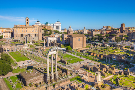 Aerial view of Roman Forum or Foro Romano in Rome, Italy.