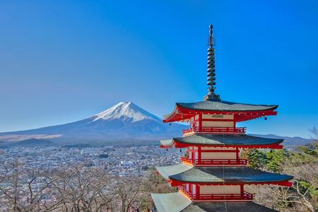 Mt. Fuji with Chureito red pagoda in kawaguchiko, Japan.