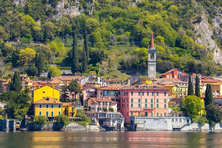 Lake Como with view of Varenna in Lecco, Italy. Éditoriale