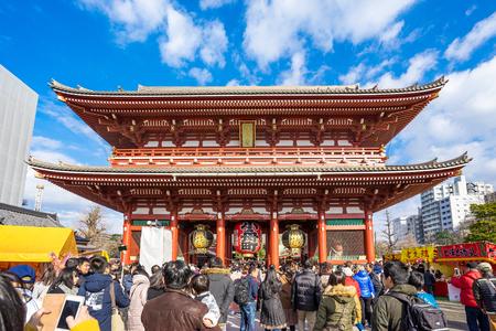 Tokyo, Japan - January 2, 2017: The crowd of people at Senso-ji Temple in Tokyo, Japan.