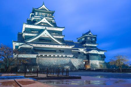 Kumamoto Castle at night in Chuoku, Kumamoto, Japan.