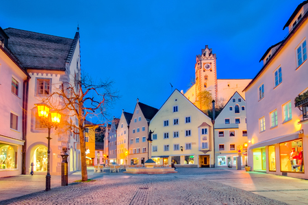 St. Mang Basillica in Fussen Town at night in Bavaria, Germany. Éditoriale