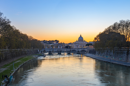 Sunset view of Vatican city state in Rome, Italy.