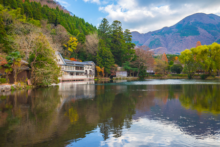 Lake Kinrin-ko in Yufuin, Oita, Japan.