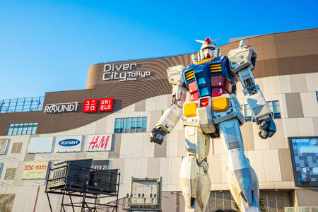 Tokyo, Japan - January 2, 2017: The Gundam Front Tokyo museum in Odaiba Tokyo, Japan.