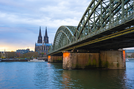 Cologne Cathedral with cloudy sky in Cologne, Germany.