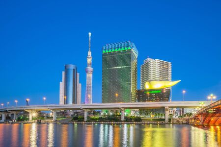 Tokyo city, Japan skyline on the Sumida River at night. Banque d'images