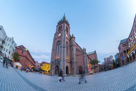 Myeongdong Cathedral at twilight in Seoul, South Korea. Éditoriale
