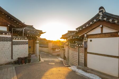 Sunrise in Seoul city Bukchon Hanok Village in South Korea.