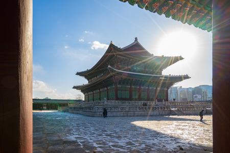 Gyeongbokgung Palace in Seoul city, South Korea. Banque d'images