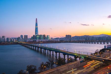 Sunset view of Seoul city skyline in Seoul, Korea.