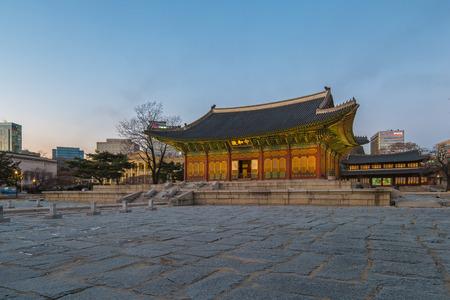Twilight at Deoksugung Palace in Seoul city, South Korea.