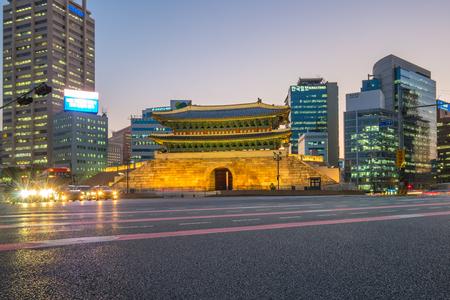 Namdaemun Gate at night in Seoul, South Korea.