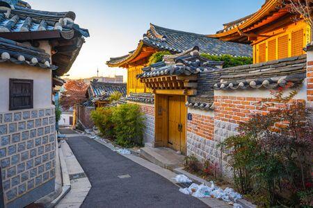 Seoul city skyline with Bukchon Hanok village in South Korea.