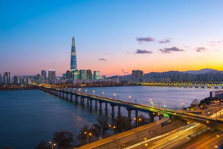 Seoul skyline in Korea at night.
