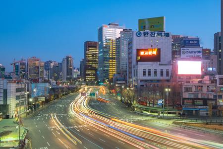 Seoul, South Korea - December 12, 2017: Seoul city traffic street near Seoul Station in Seoul, South Korea.