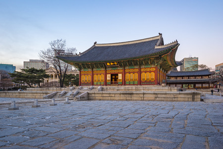Twilight at Deoksugung Palace in Seoul, South Korea.