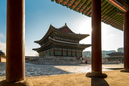 Morning sunrise with view of Gyeongbokgung Palace in Seoul city, South Korea.