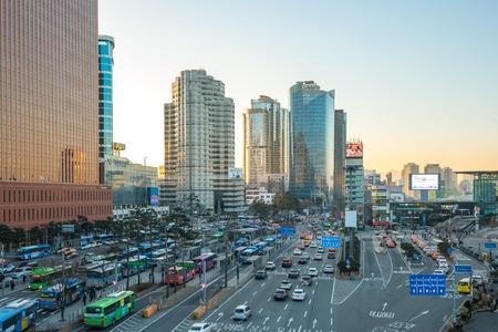 Seoul, South Korea - December 12, 2017: Traffic street near Seoul Station in Seoul, Korea.